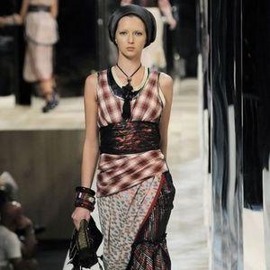 Marc Jacobs Runway Plaid dress Shimmer Trim Top